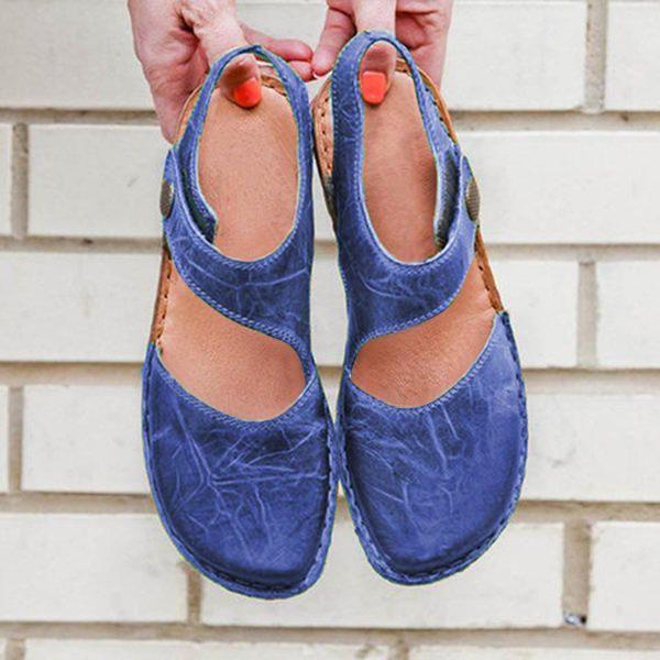 SCY US$37.99 Large Size Women Casual Comfortable Hook Loop Sandals