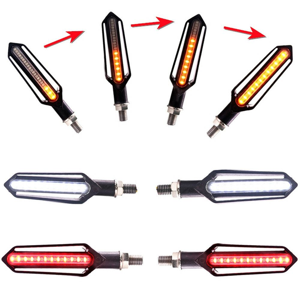 EKS US$14.99 4x Sequential Flowing 24 LED Turn Signal Indicator + White DRL + Red brake Lights