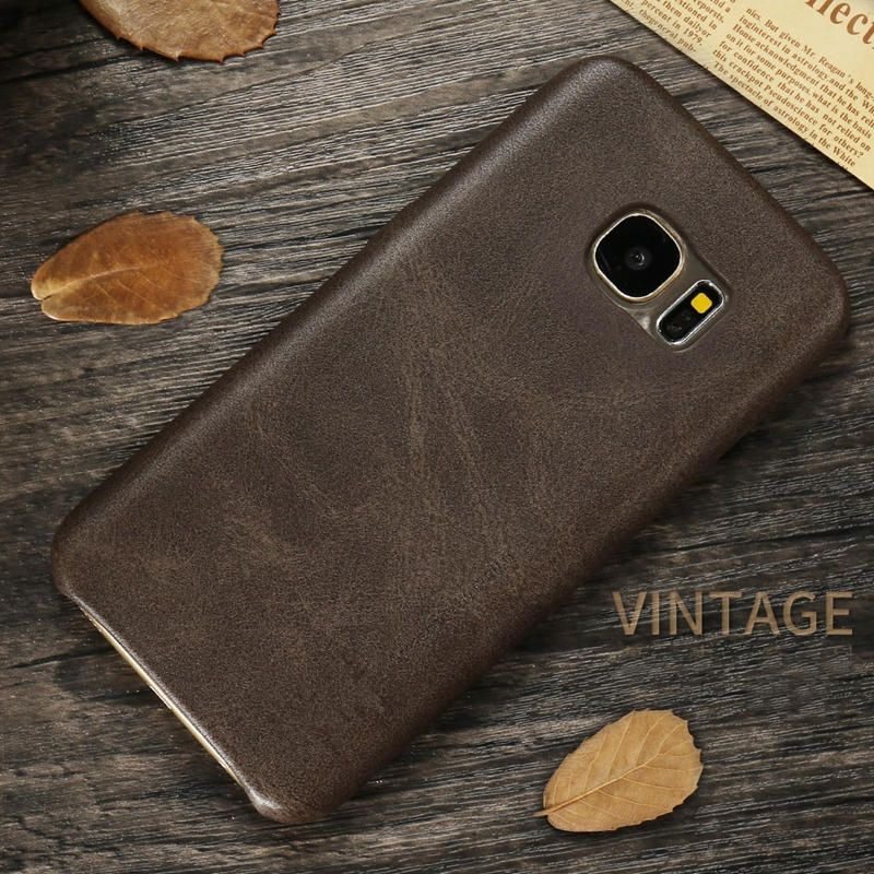 FJC US$3.89 Bakeey™ Retro Soft PU Leather Ultra Thin Shockproof Case Back Cover For Samsung Galaxy S7 Edge