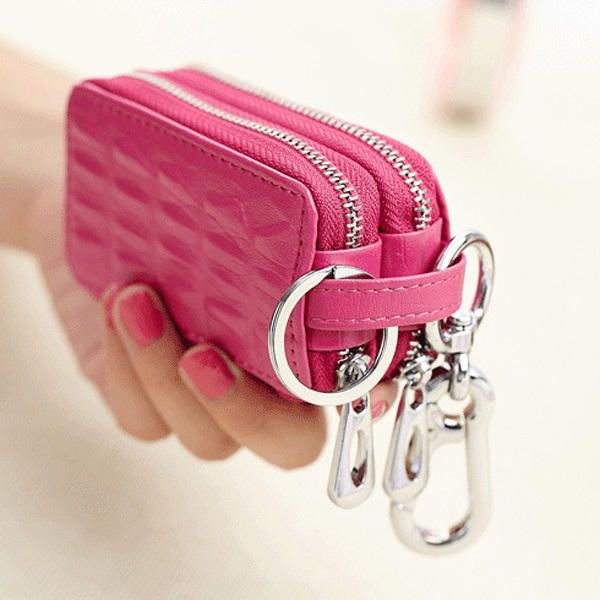BMV US$16.57 Genuine Leather Key Case Crocodile Pattern Car Key Holder Key Bag For Women Men