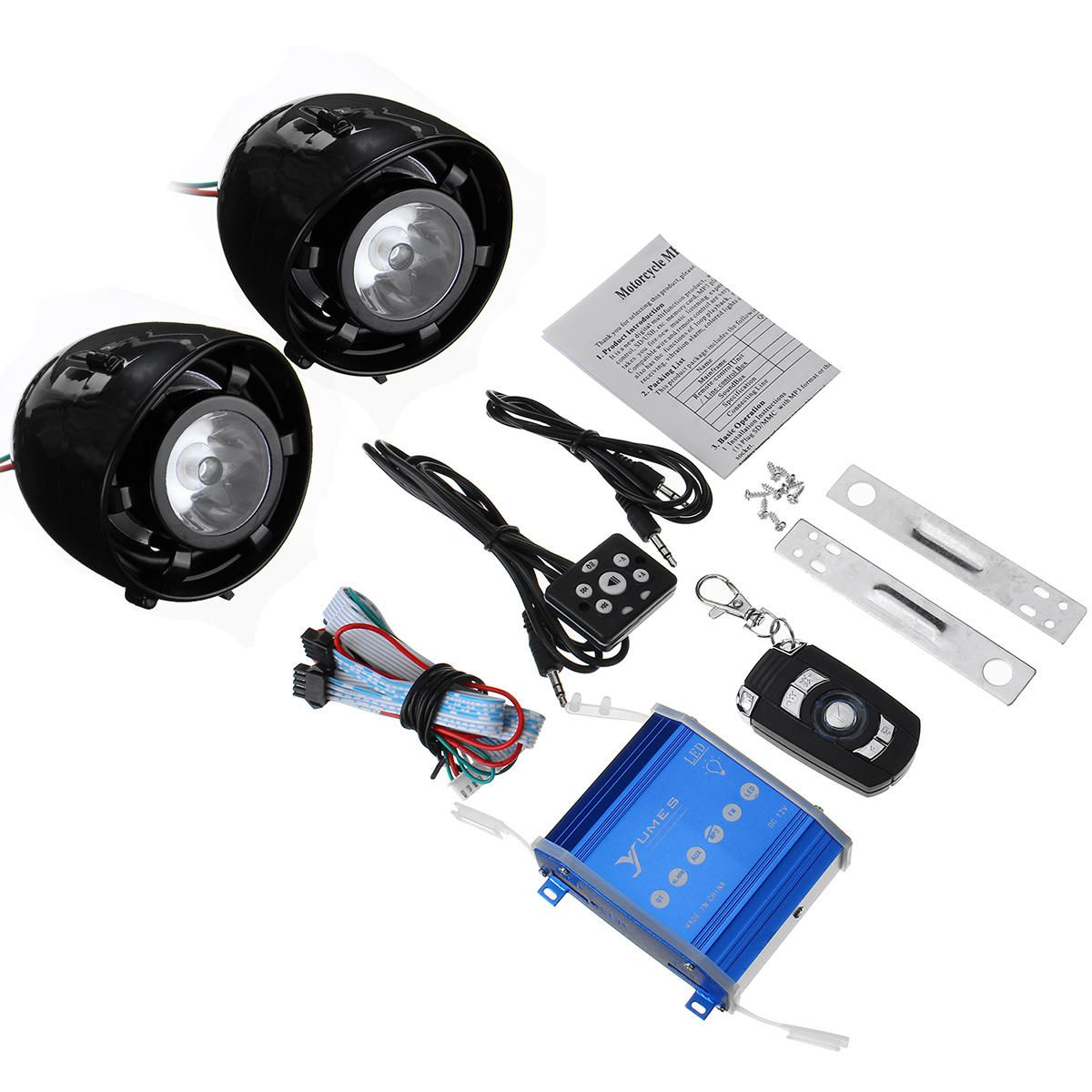 SWR US$28.89 Speaker Horns with LED Lights Motorcycle Alarm System AUX Audio MP3 Player with bluetooth Function