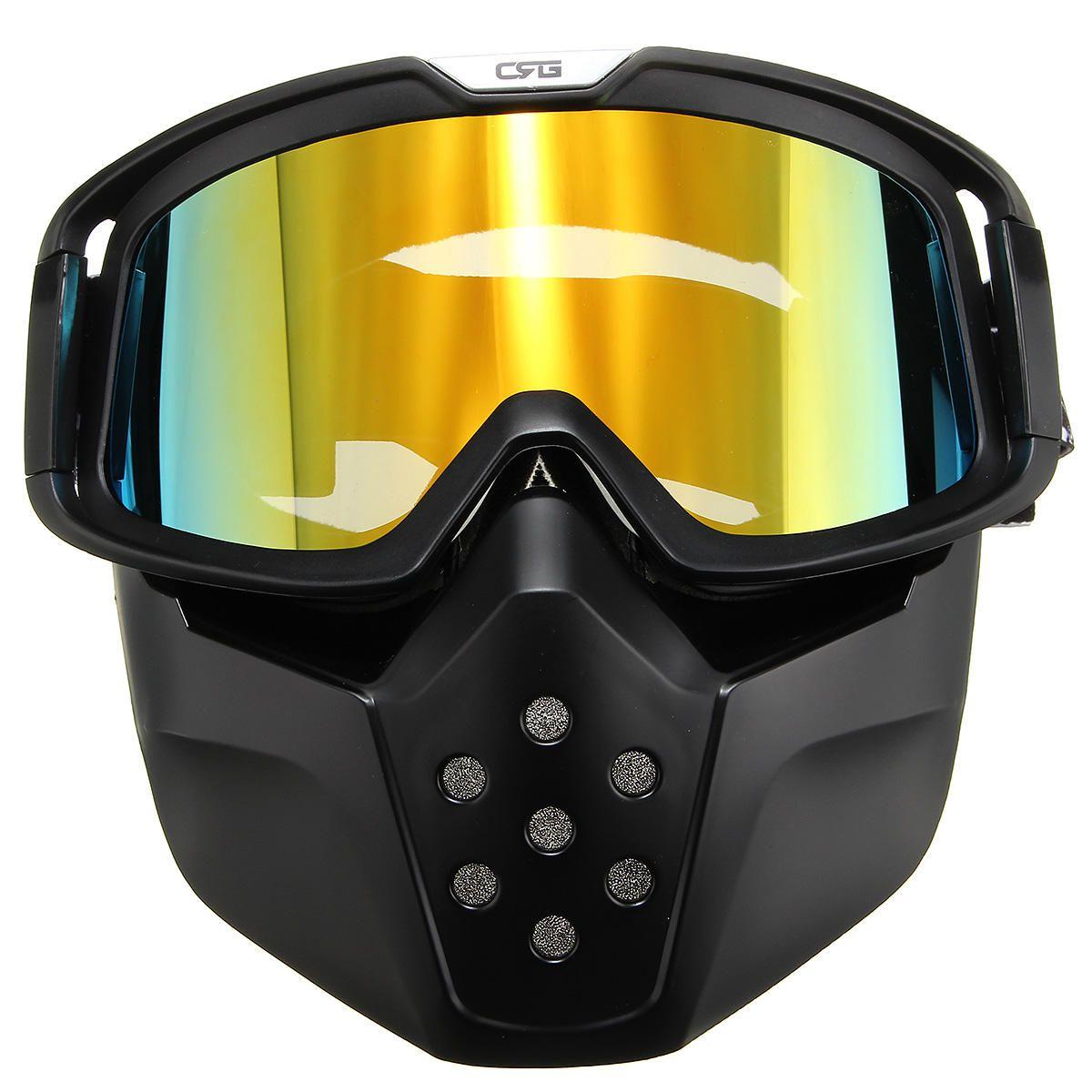 MOB US$27.31  Motorcycle Helmet Yellow Lens Detachable Goggles Modular Face Mask Shield