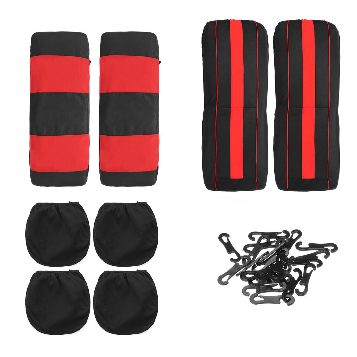 HEA US$28.87 8Pcs Polyester Fabric Car Front and Back Seat Cover Cushion Protector for Five Seats Car