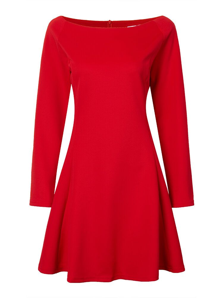 CVQ US$25.01 Women Boat Neck Long Sleeve Pure Color Slim Bodycon Dress