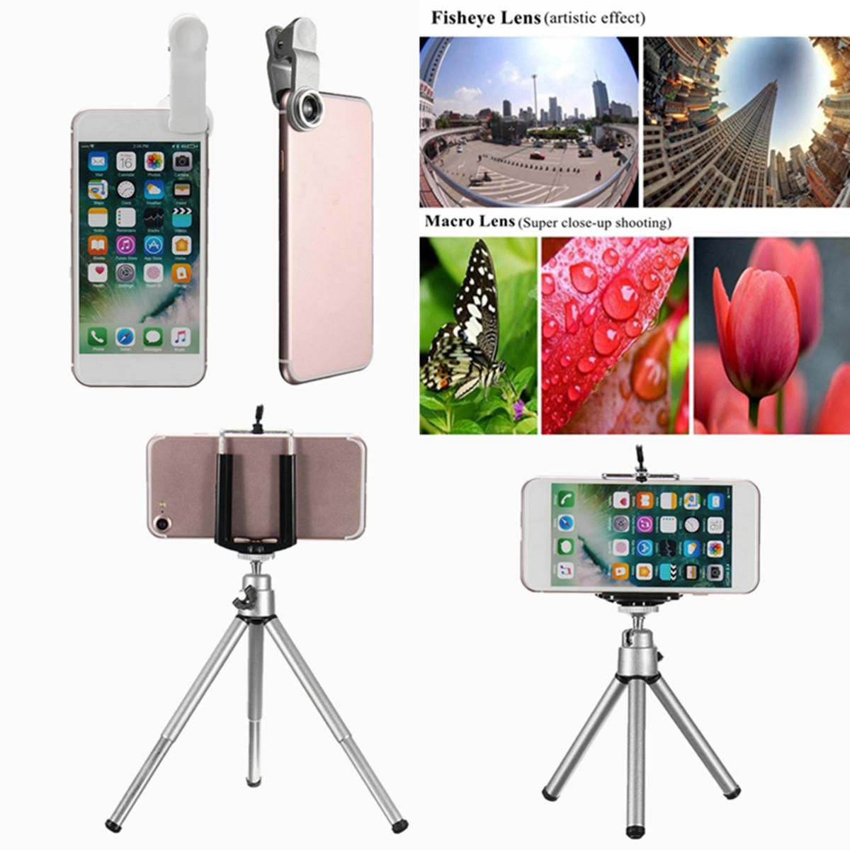 IDV US$14.10 All in 1 Accessories Phone Camera Lens Top Travel Kit For Iphone Samsung for HTC Xiaomi Huawei