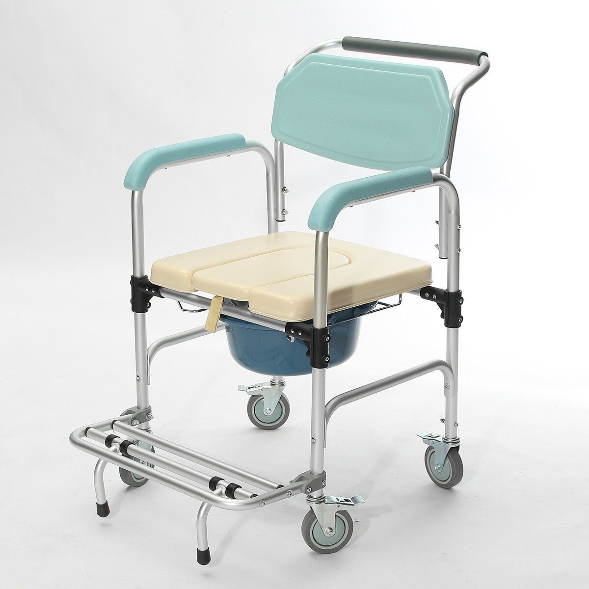 YFZ US$270.56 3-in-1 Commode Wheelchair Bedside Toilet & Shower Seat Bathroom Rolling Chair Elder Folding Chair