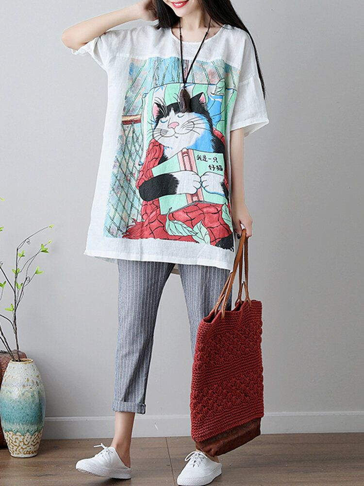 YUV US$34.50 Plus Size Women Cartoon Cat Loose Cotton T-shirts