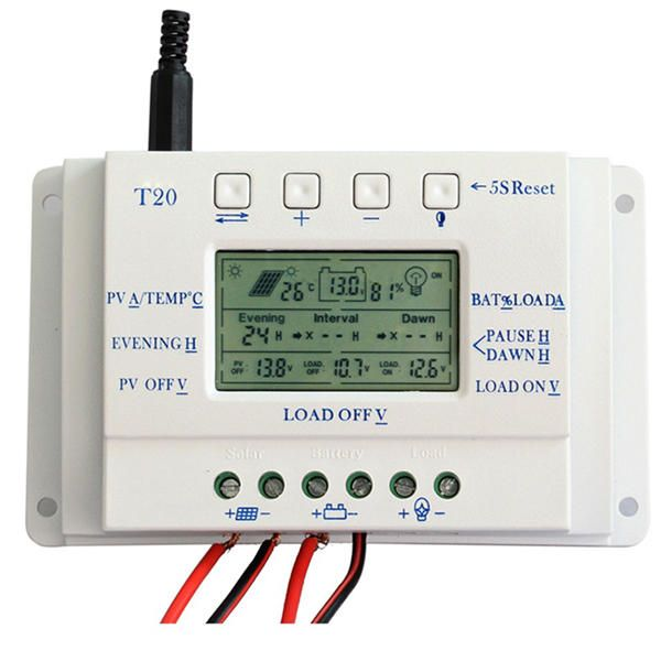 XGF US$42.11 T20 20A 12V/24V PWM LCD Display Solar Panel Battery Regulator Charge Controller Three-time Interval Charger Controller Regulator