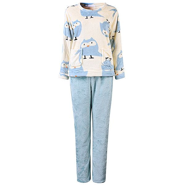 RPV US$27.40 Comfy Thicken Coral Velvet Floral Printing Pajamas Flannel Long Sleeve Sleepwear Sets For Woman