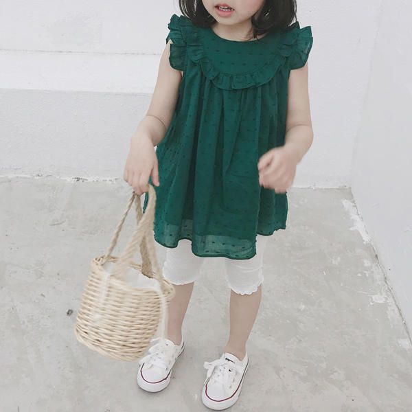 WUO US$4.21 Girls Children Cute Solid Color Lace Princess Dress