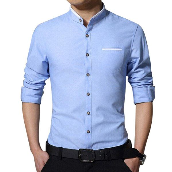 PSF US$31.99 Mens Stand Collar Cotton Casual Long Sleeve Pocket Stitching Dress Shirt
