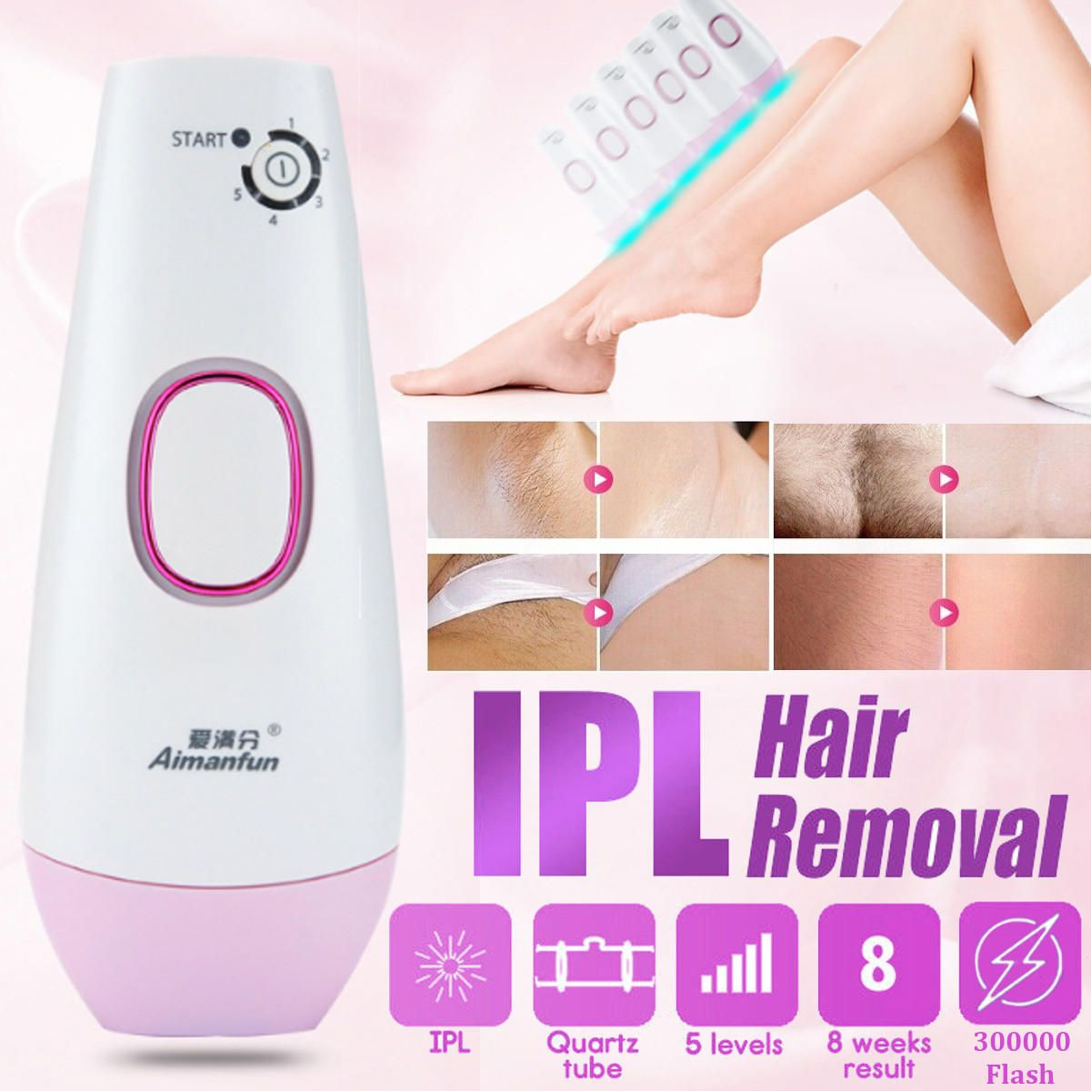 ATP US$83.21 100-240V 300000 Pulses IPL Permanent Hair Laser Removal for Body Face Home Use Device Depilatory Epilator