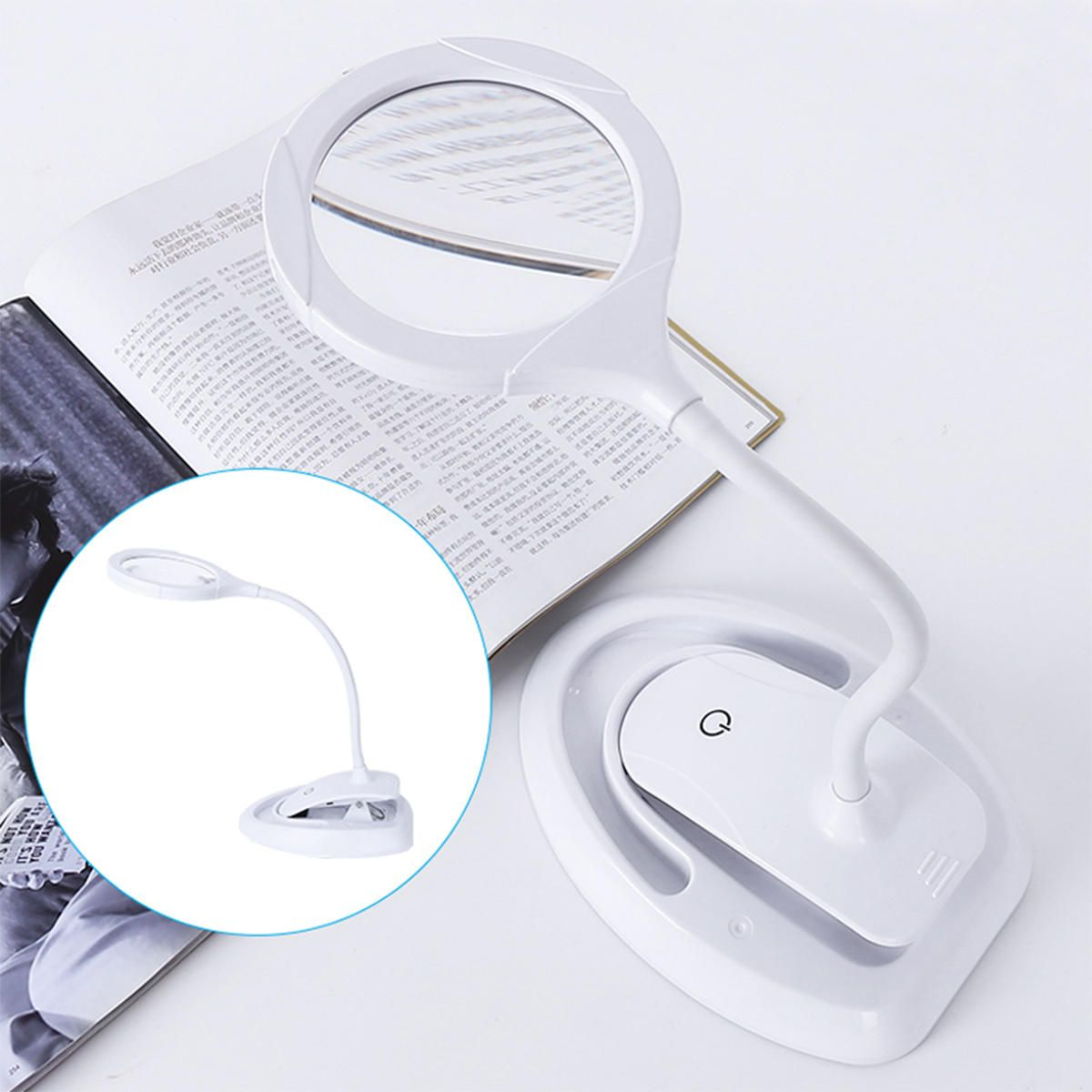 OQK US$27.80 3 Gears Handheld Magnifier 5-10X Reading Magnifying Glass Lens Loupe with 15 LED Lights