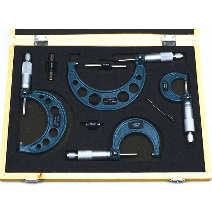 RSD US$69.35 4Pcs Outside Micrometer Set Ratchet Stop Type 0-100mm (0-25mm/25-50mm/50-75mm/75-100mm)