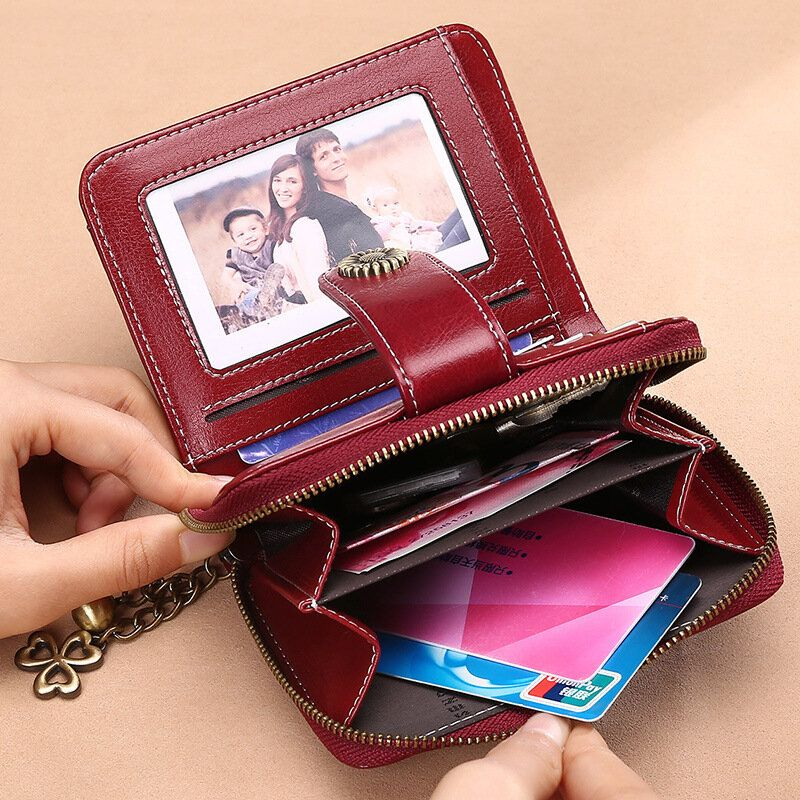 HHL US$31.44 Women Genuine Leather Short Section Multi-function Coin Purse Card Holder Wallet