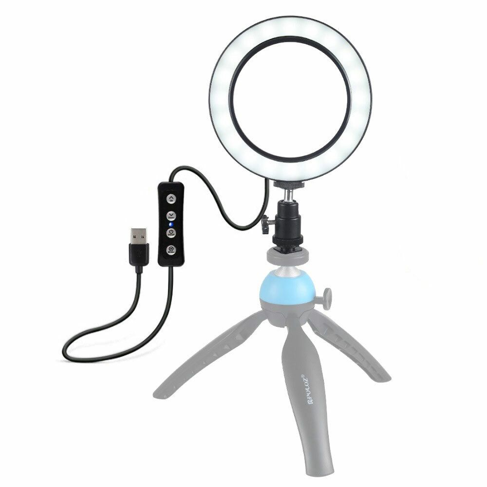 CMM US$9.99 PULUZ PU377 USB 4.6 Inch 3 Modes 3200K-5500K Dimmable LED Video Ring Light with Cold Shoe Tripod Ball Head for Tiktok Live Streaming
