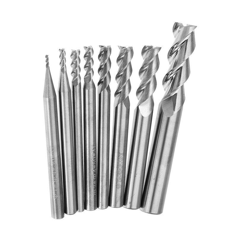 OCX US$3.83~9.33 Drillpro 1-8mm HRC58 3 Flutes End Mill Cutter Tungsten Carbide CNC Milling Tool for Aluminum