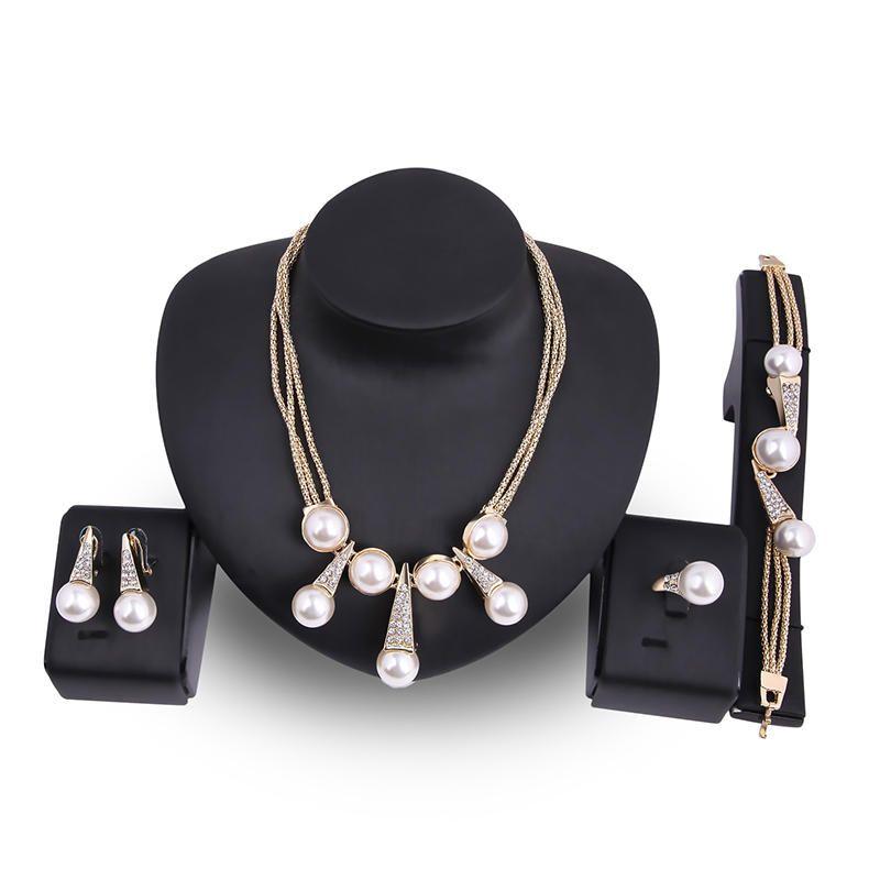 SZJ US$25.44 Luxury Bridal Jewelry Pearls 18K Gold Charm Necklace Bracelet Earrings Ring Set for Women