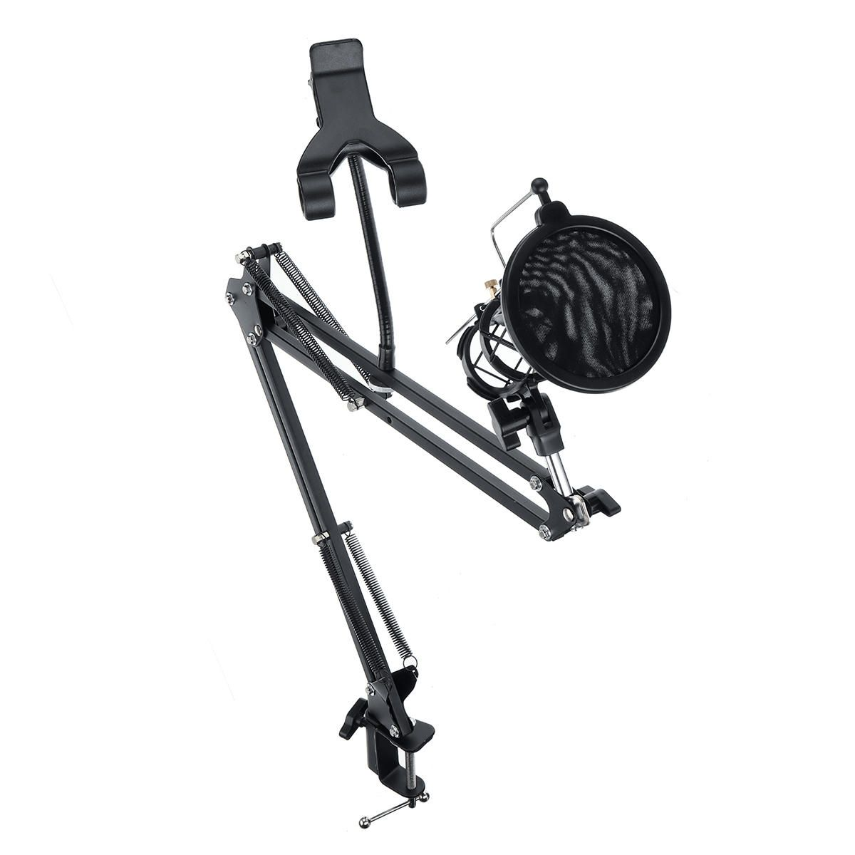 QCF US$28.26 95cm Microphone Metal Bracket Suspension Arm Quakeproof Mobile phone Adjustable Blowout Preventer Table Mounting Clamp