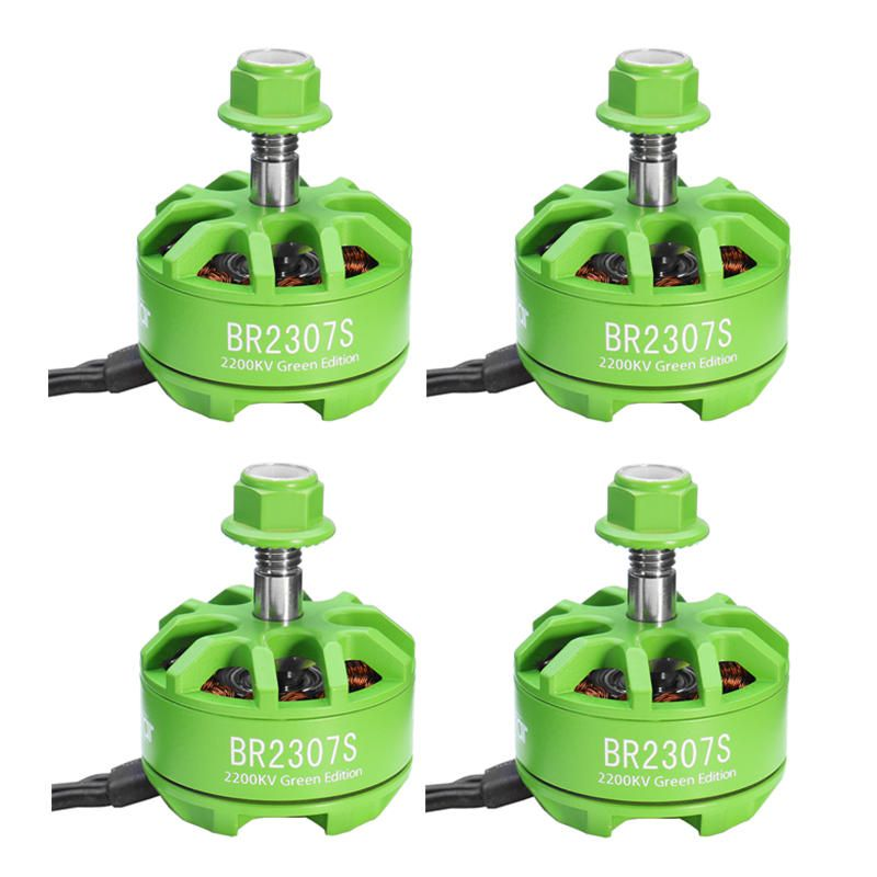 RNV US$42.97 4X Racerstar 2307 BR2307S Green Edition 2200KV 2-5S Brushless Motor For X220 250 300 RC Drone FPV Racing