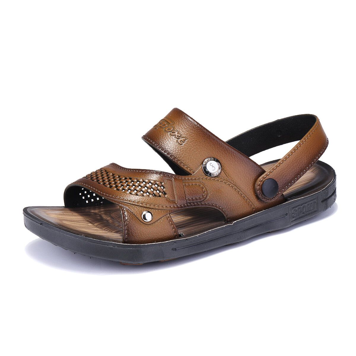 CKW US$28.40 Men Comfy Two Way Wear Leather Sandals Beach Slippers Sandals