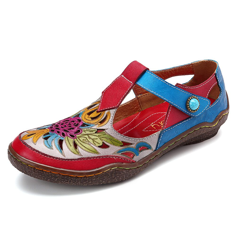 FZX US$54.99 SOCOFY Hollow Out Floral Hook Loop Leather Sandals