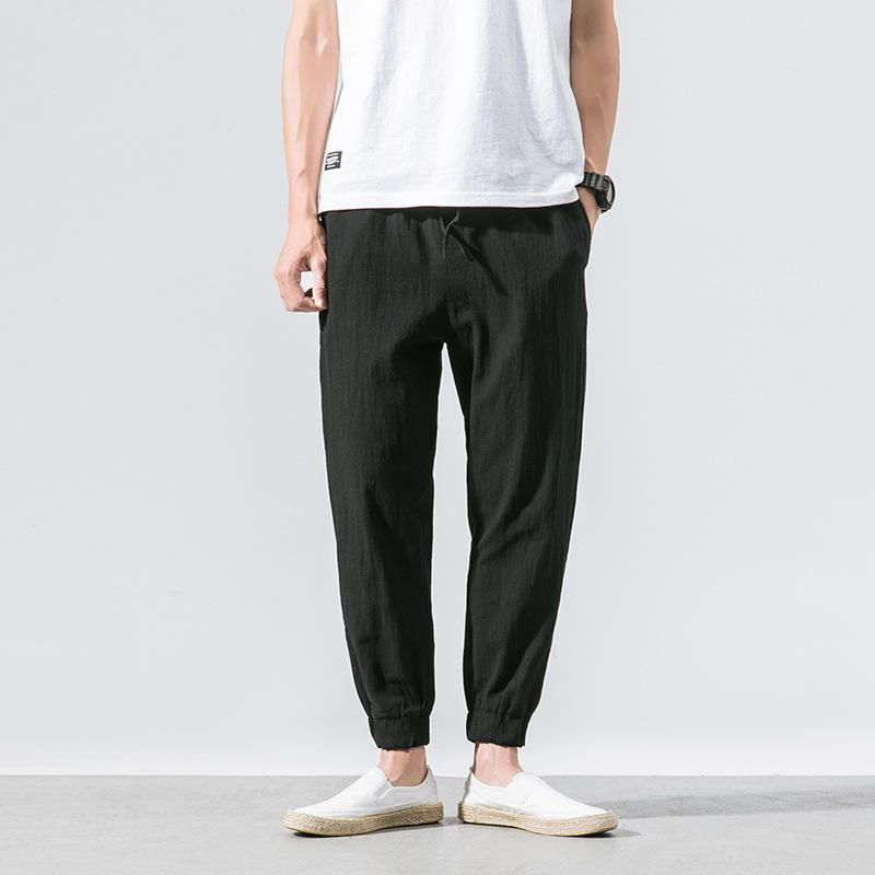 DWD US$23.99 Mens Fashion Chinese Style Linen Solid Color Drawstring Casual Straight Pants