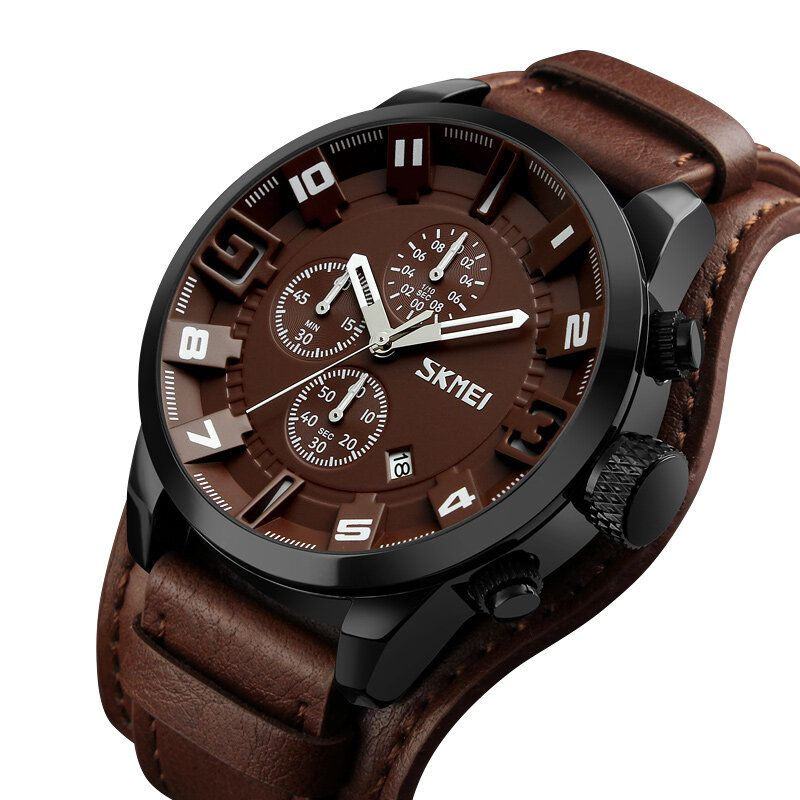 KRB US$21.41 SKMEI 9165 Business Style Date Display Men Wrist Watch Leather Strap Quartz Watches