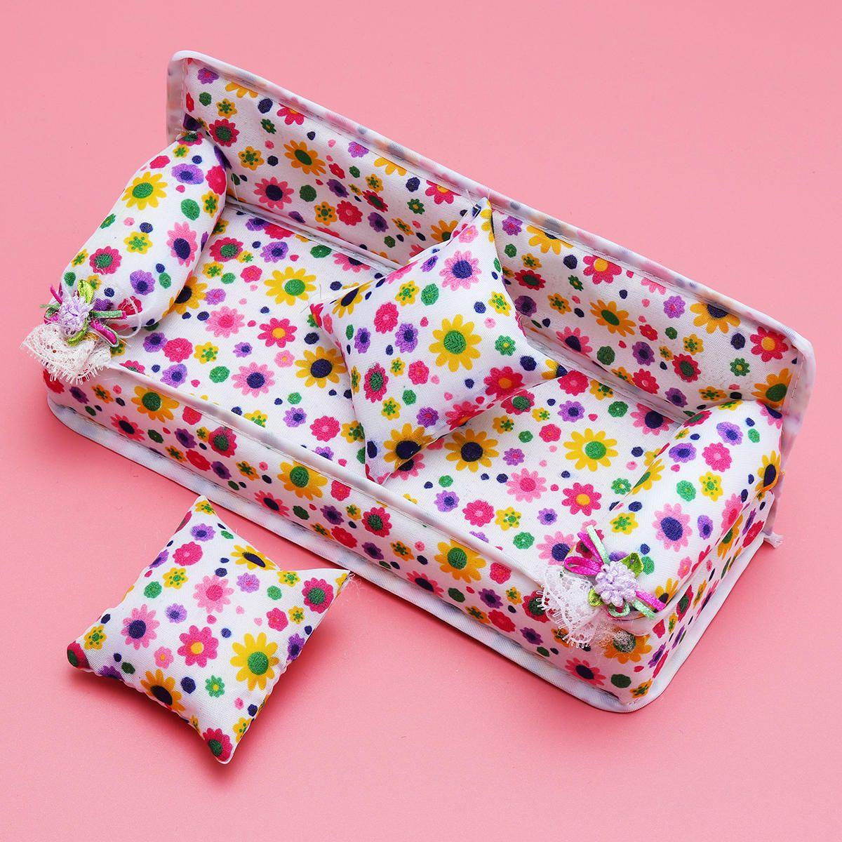 IZZ US$10.38 DIY Plastic Doll House Kids Development Toys Furniture Living Room Sofa Bed Dressing Table Hanger Set