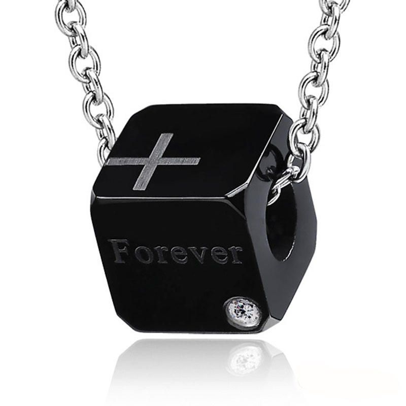 HRU US$38.34 1 Pair Stainless Steel Lover Couple Necklace Sweet Cubic Pendant Jewelry Gift