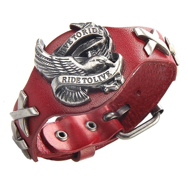 VNZ US$40.87 Punk Genuine Leather Wrap Wristband Bangle Alloy Eagle Bracelet for Men Women