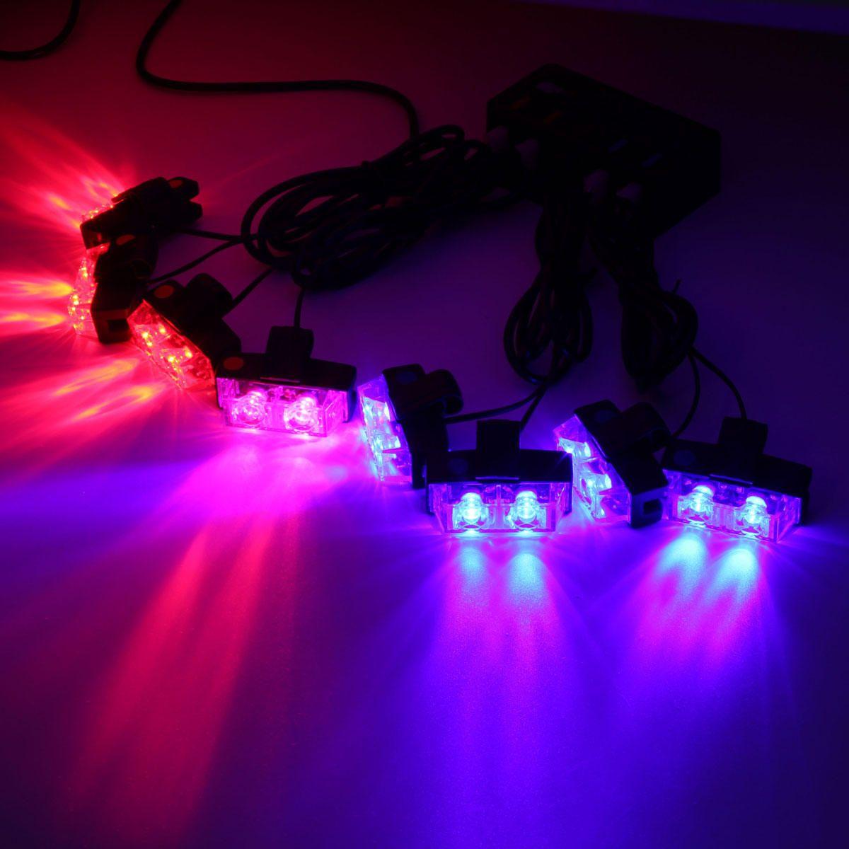 QES US$26.49 30W 8Pcs Lamp 16 LED Emergency Flashing Warning Lights Wireless Remote Grille Strobe