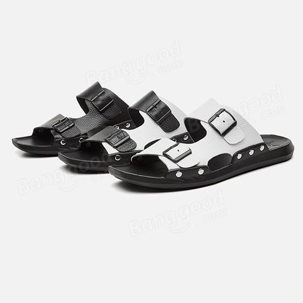 LJM US$30.28 S-0056 Summer Fashion Men Male Cool Genuine Leather Open Toe Casual Beach Shoes Slippers Sandals