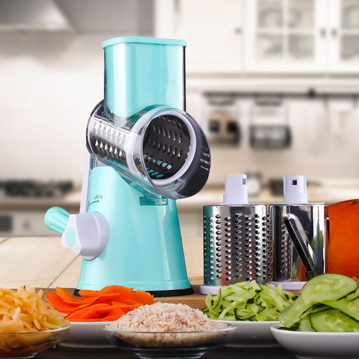 TBI US$28.49 Manual Vegetable Potato Roller Cutter Stainless Steel Blade Kitchen Slicer Roller Cutting Machine