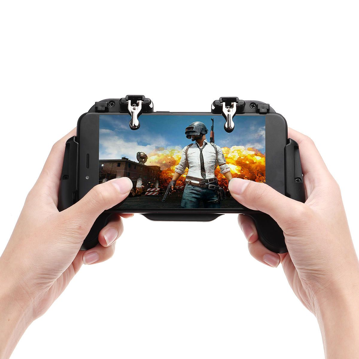 RLJ US$9.34 H5 Gamepad Joystick Game Controller USB Built-in Cooling Fan for PUBG Rules of Survival Mobile Game Fire Trigger for Phone