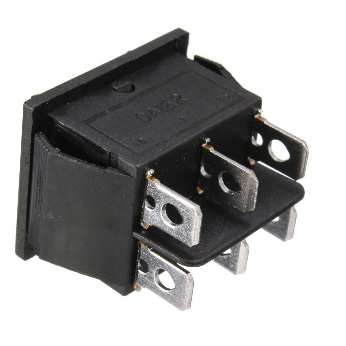 UMJ US$2.13 12 Volt 6-Pin DPDT Power Window Momentary Rocker Switch AC 250V/10A 125V/15A
