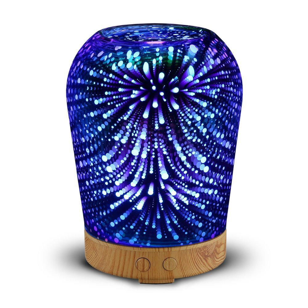 SKR US$31.07 Loskii LH-963 3D LED Lights Oil Diffuser Ultrasonic Cool Mist Aromatherapy Humidifier 16 Color Changing Starburst Light Lamp 100ML Volume Humidifier