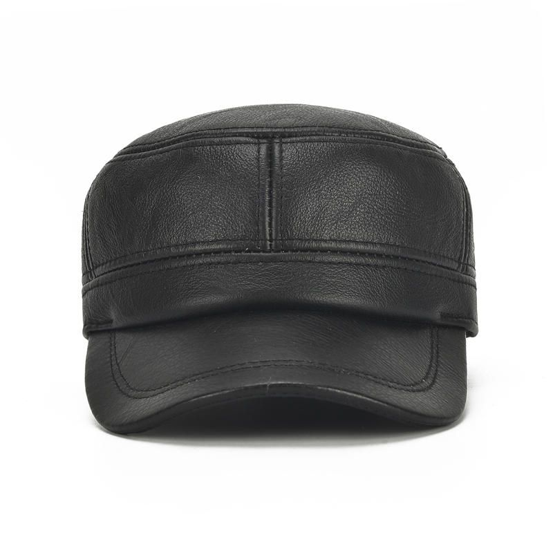OWB US$30.72 Mens Winter Leather Earmuffs Flat Top Hats Outdoor Durable Warm Military Army Peaked Cap