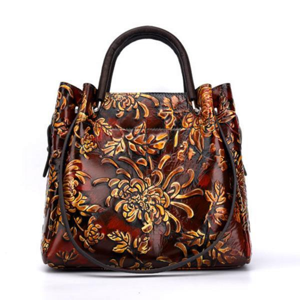JSY US$86.43 Brenice Women Vintage Genuine Leather Bags Printing Flowers Handbag National Style Women Bags