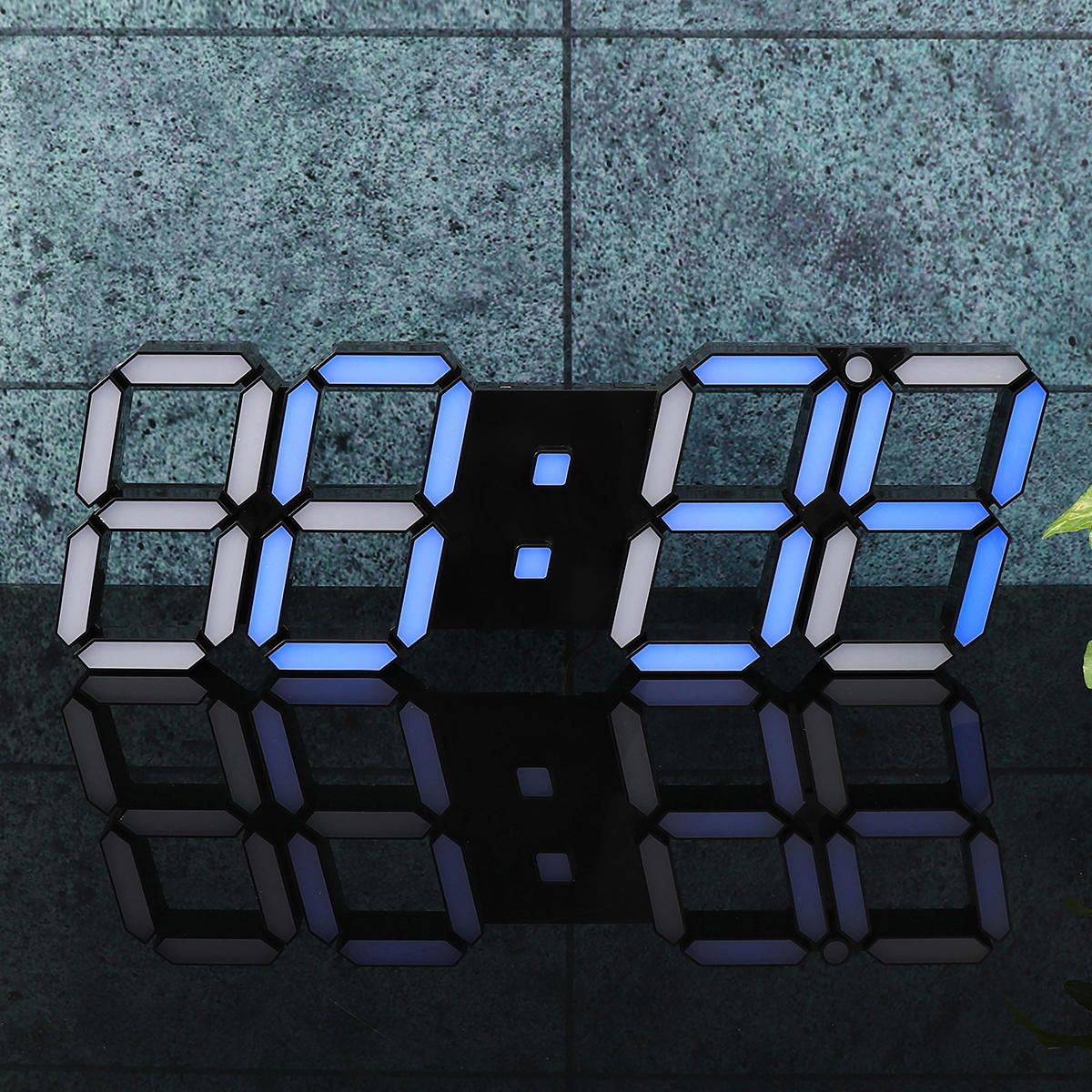 ODO US$63.07 39×13×2.2cm 3D Digital LED Wall Clock Alarm Watch Temperature Modern USB Remote Control