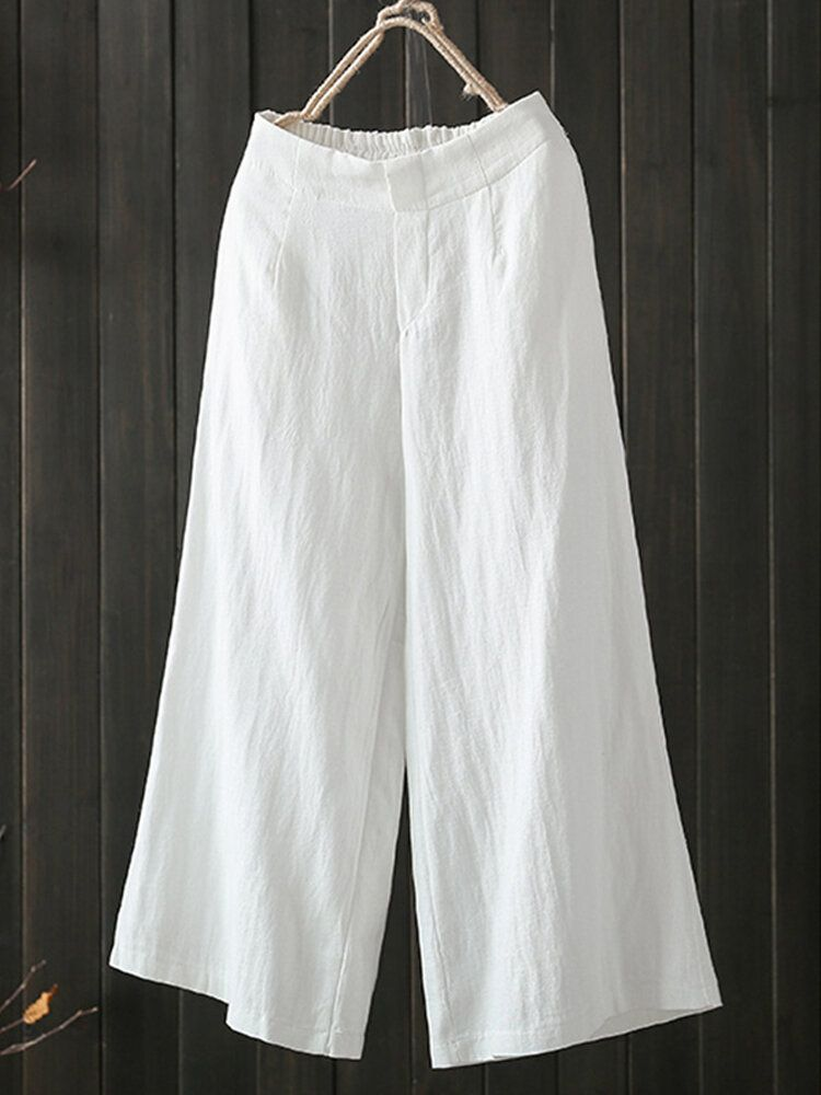 HWH US$22.42 Women High Elastic Waist Loose Cotton Wide Leg Pants with Pockets