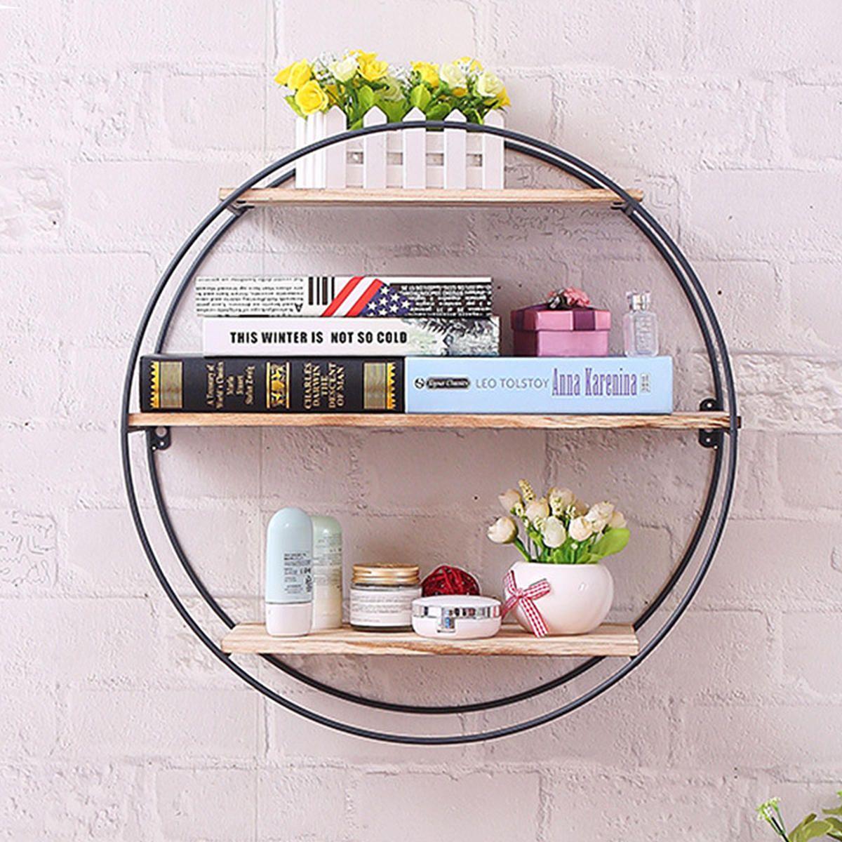 GYV US$54.10 Retro Round Wood Iron Craft Wall Shelf Rack Storage Industrial Style Home Decorations