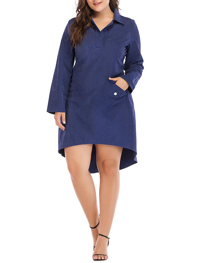 ETZ US$35.99 Women Brief Work Style Long Sleeves Irregular Hem Dress with Button