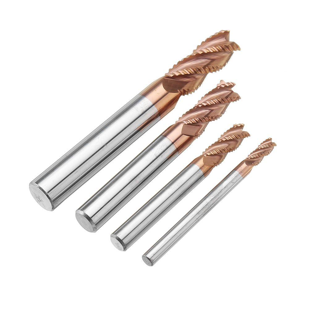 LYD US$4.10~14.10 Drillpro 4/6/8/10mm Rough End Mill Cutter 4 Flutes HRC55 AlTiN Coating Milling Cutter