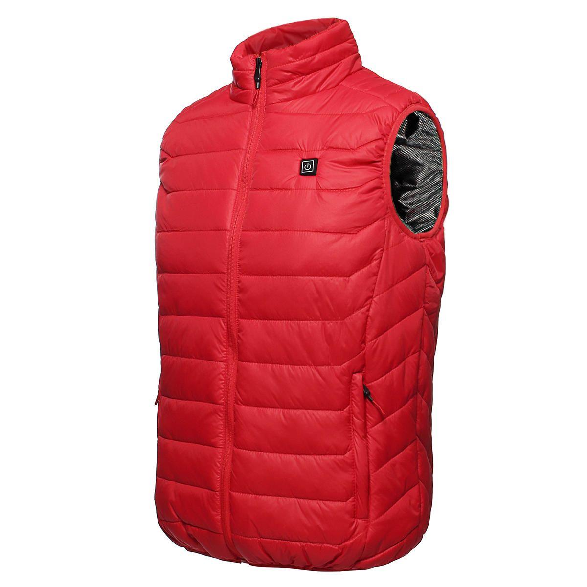 SNT US$32.42 Red Unisex USB Heating Vest Smart Winter Body Warmer Outdoor Racing Jacket Heater Xmas Gift