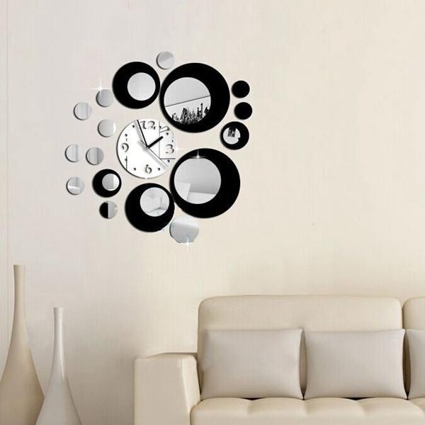 LXC US$6.65 Honana DX-X6 Creative 3D Acrylic Mirror Wall Sticker Quartz Clocks Watch Large Home Decor