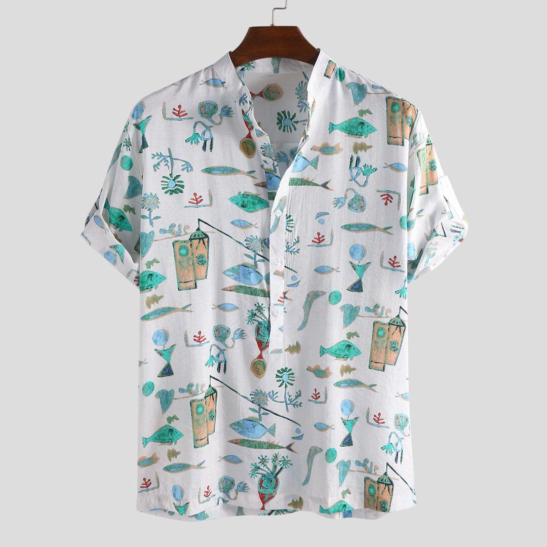 HYC US$16.99 Men Cartoon Fish Print Half Sleeve Henley Shirts