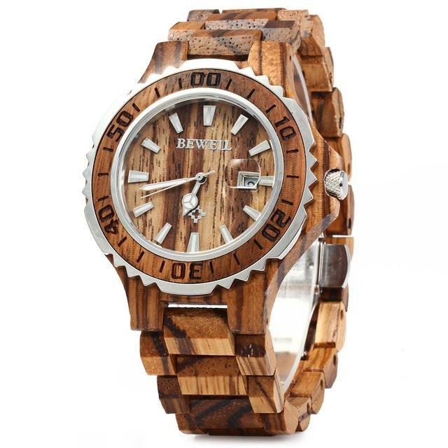 GXA US$40.26 BEWELL ZS-100BG Luminous Hands Calendar Wood Watches Waterproof Quartz Unisex Watch