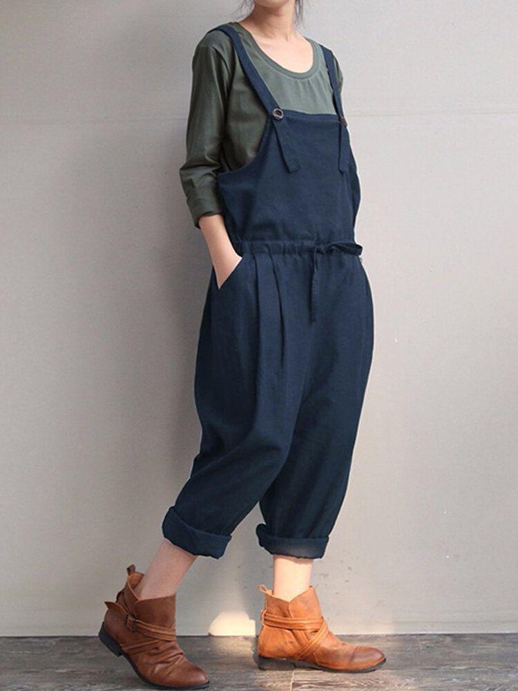 TPT US$28.99 Casaul Women Pure Color Strap Pocket Drawstring Harem Jumpsuit