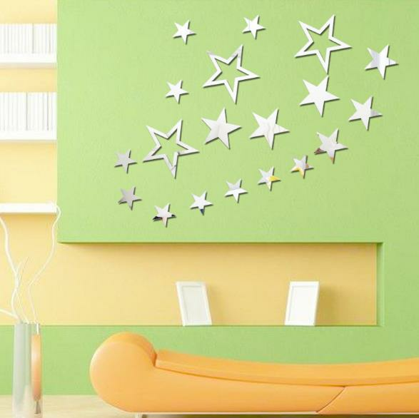 IDQ US$11.04 3D Star Multi-color DIY Shape Mirror Wall Stickers Home Wall Bedroom Office Decor